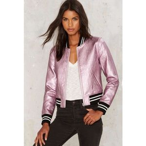 Nasty Gal Steal Your Heart Bomber Jacket Size S